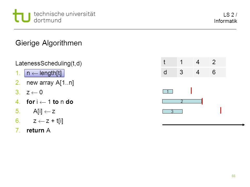 Gierige Algorithmen LatenessScheduling(t,d) n  length[t]